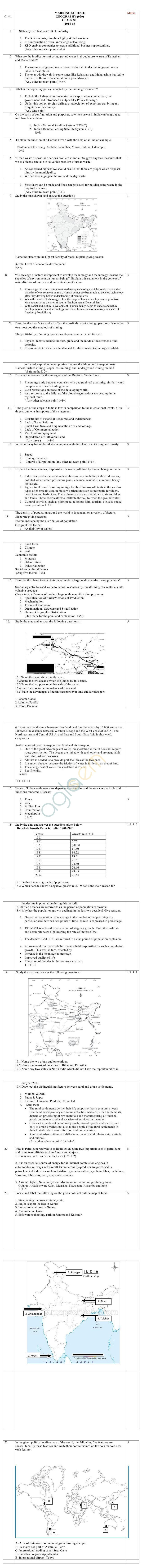 CBSE Class XII Marking Scheme 2015 Geography