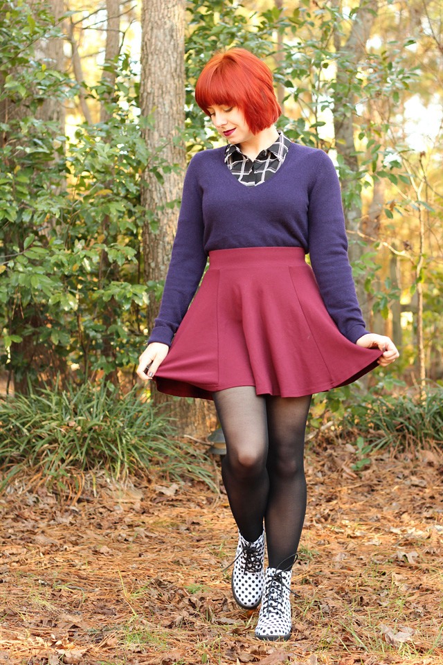 Winter Outfit: Purple Cashmere Sweater, Windowpane Print Top, Maroon Skater Skirt, White Polka Dot Boots