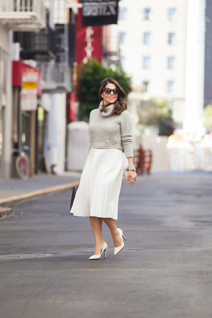 club monaco sweater what to wear to work spring white skirt accordian skirt dvf pumps prada sunglasses fashion blogger sweater cropped sweater corporate catwalk what to wear to work cute sprint outfits red lipstick zara skirt jcrew outfit post nyc blogger saint laurent sac de jour grey bag desginer bag dvf bethany heels perfect spring heels