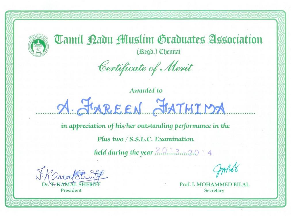 Merit Certificate to Selvi Fareen Fathima – Merit Certificate Comments