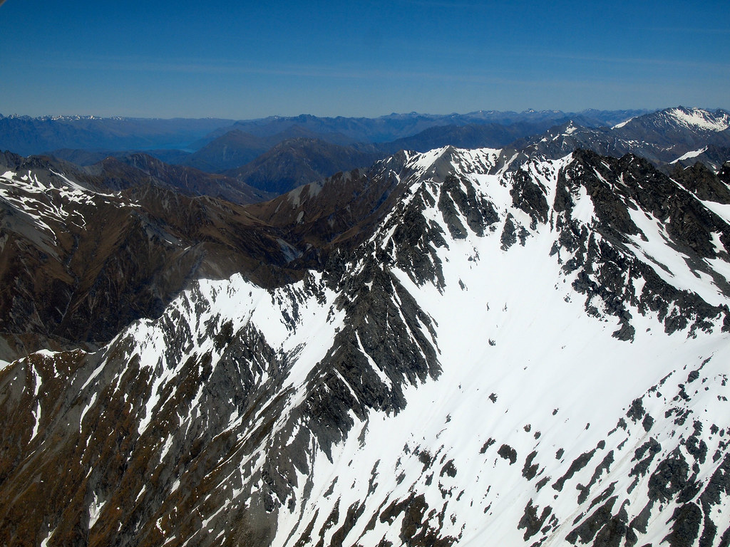 Flying over the Southern Alps in New Zealand