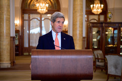 U.S. Secretary of State John Kerry addresses reporters in Montreux, Switzerland, on March 4, 2015, after concluding his latest round of negotiations with Iranian Foreign Minister Javad Zarif about the future of his country's nuclear program. [State Department photo/ Public Domain]