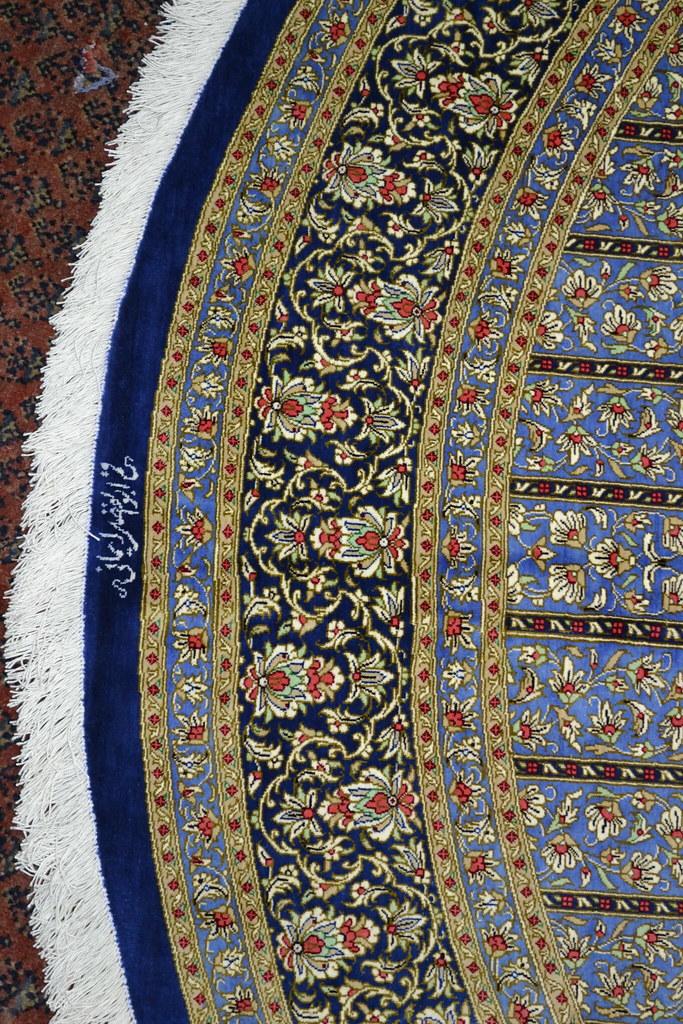 Extremely rare Qum Round Persian Rug 200x200 cm 7x7 Pure Silk (4)