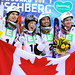 KREISCHBERG, AUSTRIA-Jan 19: Mikaël Kingsbury, Justine Dufour-Lapointe, Philippe Marquis and Marc-Antoine Gagnon pose after the dual moguls competition at 2015 FIS Freestyle Ski World Championships.