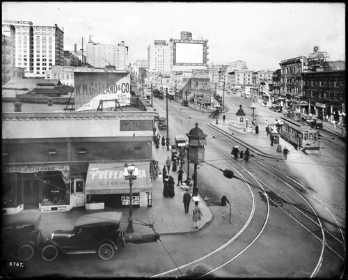 Junction at Main Street, Spring Street, and 9th Street, Los Angeles, ca.1917 (CHS-5767)