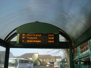 Haverfordwest bus stop departure board