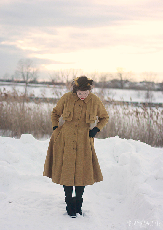 yellow coat in snow 3