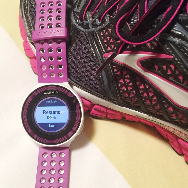 Well, I got my first long run of 10.2 miles in for this week. The best part was running with my new #Garmin Forerunner 220!! It's 💜 purple 💜 and matches my 💜 Brooks 💜. My other Garmin was old and broke :