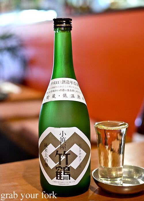 1999 taketsuru junmaishu sake at Nom, Darlinghurst