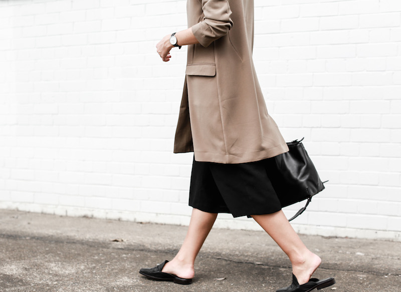 MODERN LEGACY fashion blog street style camel coat blazer culottes loafer mules (12 of 14)