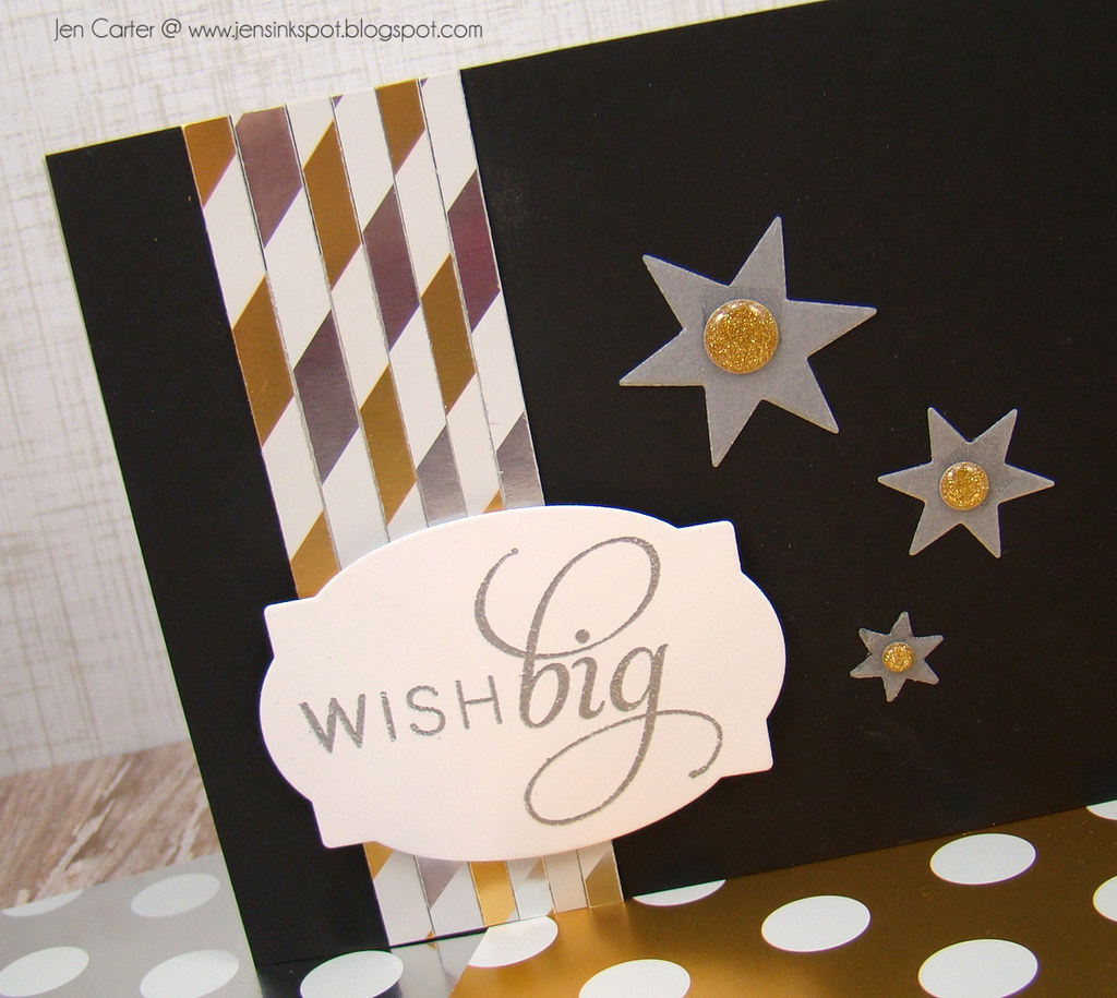 Jen Carter Gold Striped Wish Big Card Closeup