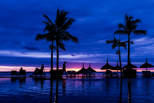 blue sunset sky sun reflection water pool silhouette set nikon paradise hour mauritius d610