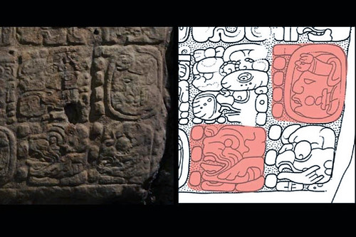 The highlighted areas (in red) in the drawing by David Stuart show the date equivalent to Dec. 21, 2012, or in the Maya system 13.0.0.0.0 4 Ahaw 3 Kankin. The actual glyph is shown on the left. (© Proyecto La Corona)