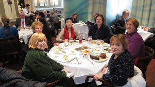 Clockwise: Angélica Mariani with red scarf, Nora Ananos, Norma Byers, Ellyn Vogel, Bonnie Larson, Doris Tazelaar; lunch at Oceana RestaurantWCC_RadioCityDec2014