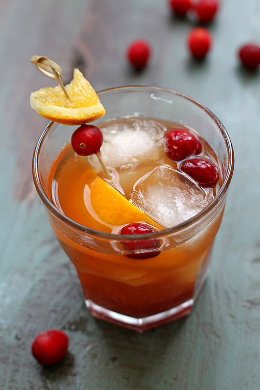 Cranberry Old-Fashioned Cocktail | girlversusdough.com @stephmwise