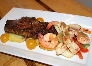 Chargrilled Steak & Calamari with King Prawn
