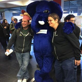 Jeremy & Sara with the PostgreSQL elephant