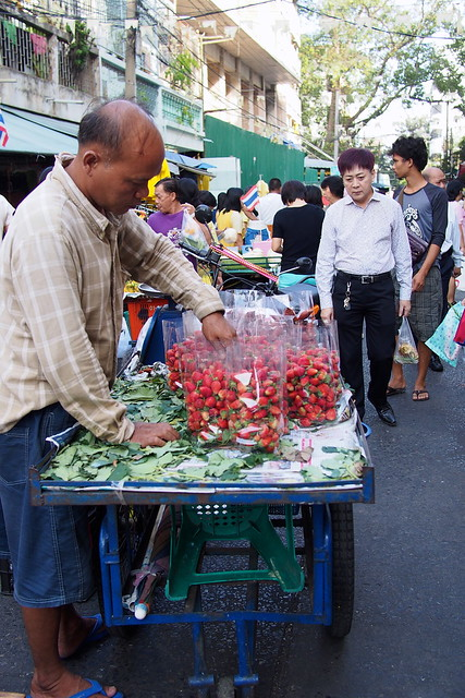 strawberries, Silom Soi 20 market, Bangkok, Thailand