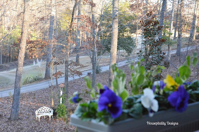 Upper back porch view in Winter-Housepitality Designs