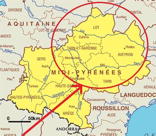 Mapa de la zona de Midi-Pyrenées que tenemos pensado visitar