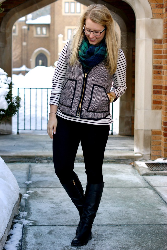 herringbone vest and striped shirt
