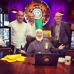 Dan, Jase & Pete make a guest appearance at Califonia's, 'The Week in Tech' (TWiT.tv). As an act of Welsh comradeship presenter Leo Laporte adorns a fetching leek. - #TWiT #california #leolaporte