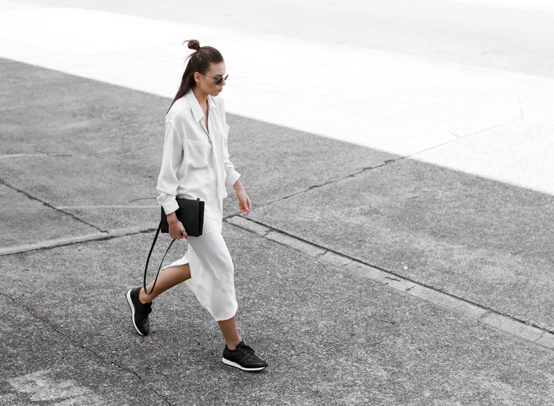 MODERN LEGACY sport luxe street style white on white midi skirt Common Projects sneakers half up hair off duty (1 of 1)