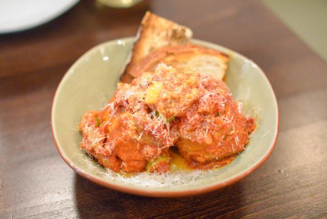 PORK MEATBALLS san marzano tomato, calabrian chile, lardo