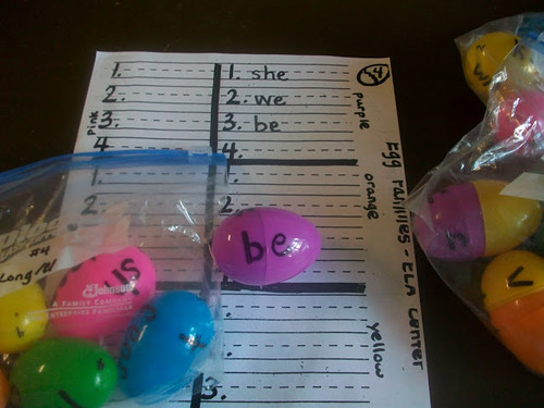 Word Family Eggs (Photo from First Grade Schoolbox)