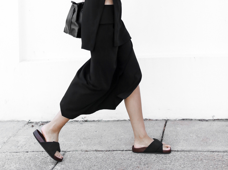 modern legacy, fashion blog, street style, all black, Celine, slide sandals, split skirt (1 of 1)