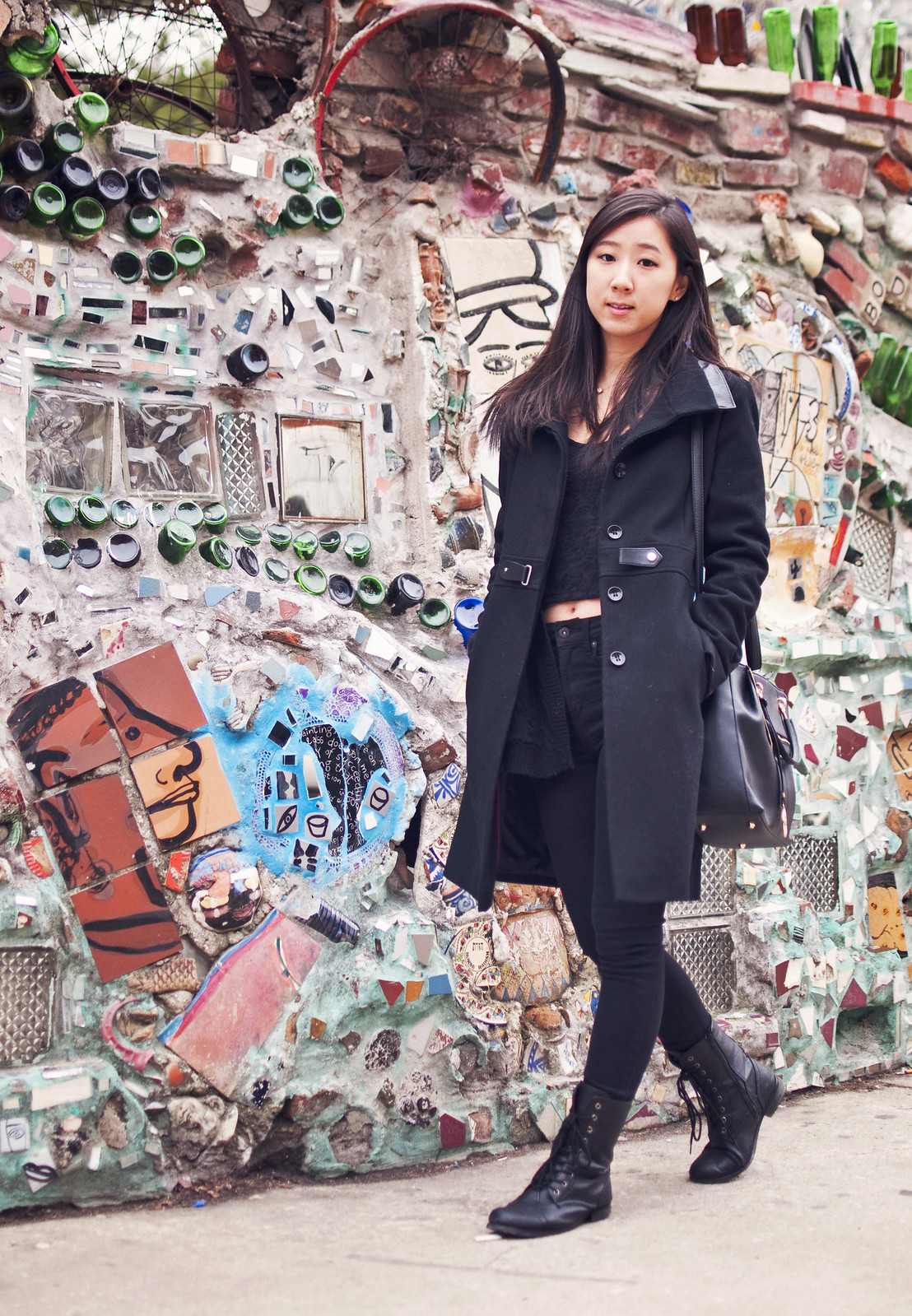 fashion, outfit of the day, personal style, teaforshoe, combat boots, high waisted jeans, black coat, all black outfit, winter fashion, spring fashion, h&m jeans, via spiga coat