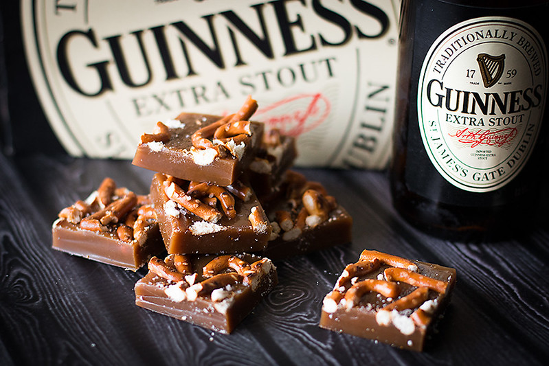 Guinness and Pretzel Caramels - a salty sweet treat for St. Patrick's Day