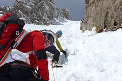 Skitouren in Griechenland, Besteigung Olymp, Couloir am Mitikas, 2918 m. Foto: Herbert Streibel.