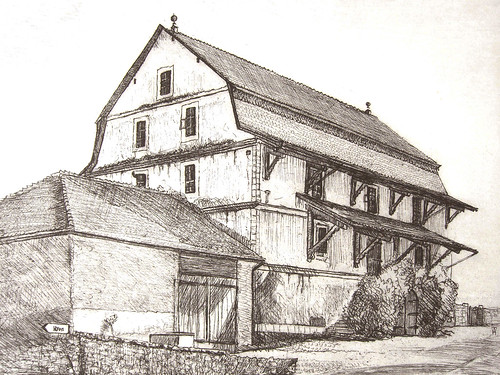 Duillier near Nyon - etching detail 23x28cm 1985