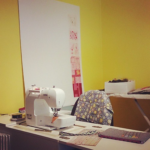 Have design board, will stick things up! #honestsewingroom