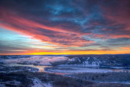 pink blue light sunset orange cloud sun color fog clouds sunrise river landscape sony colourful sunr uwa