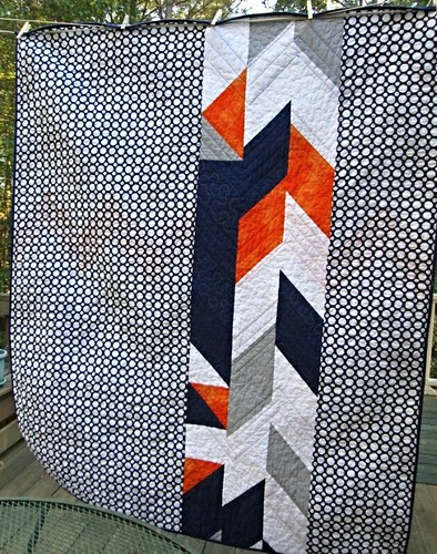 Chevron Baseball Baby Quilt - Back