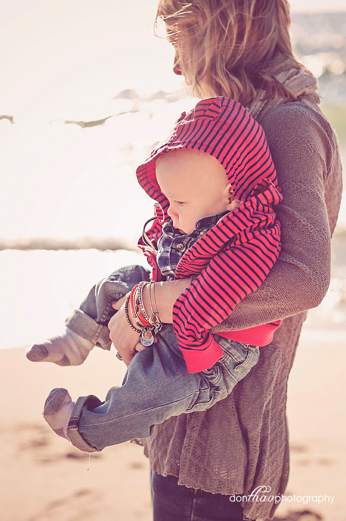 Mom and baby on West Michigan beach photography