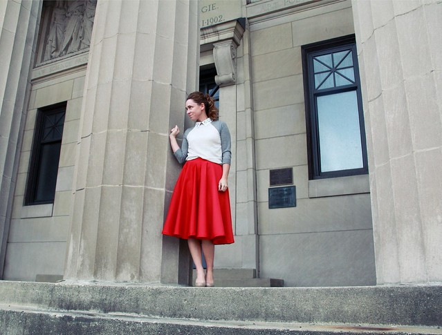 red midi skirt modest outfit via Kristina J blog