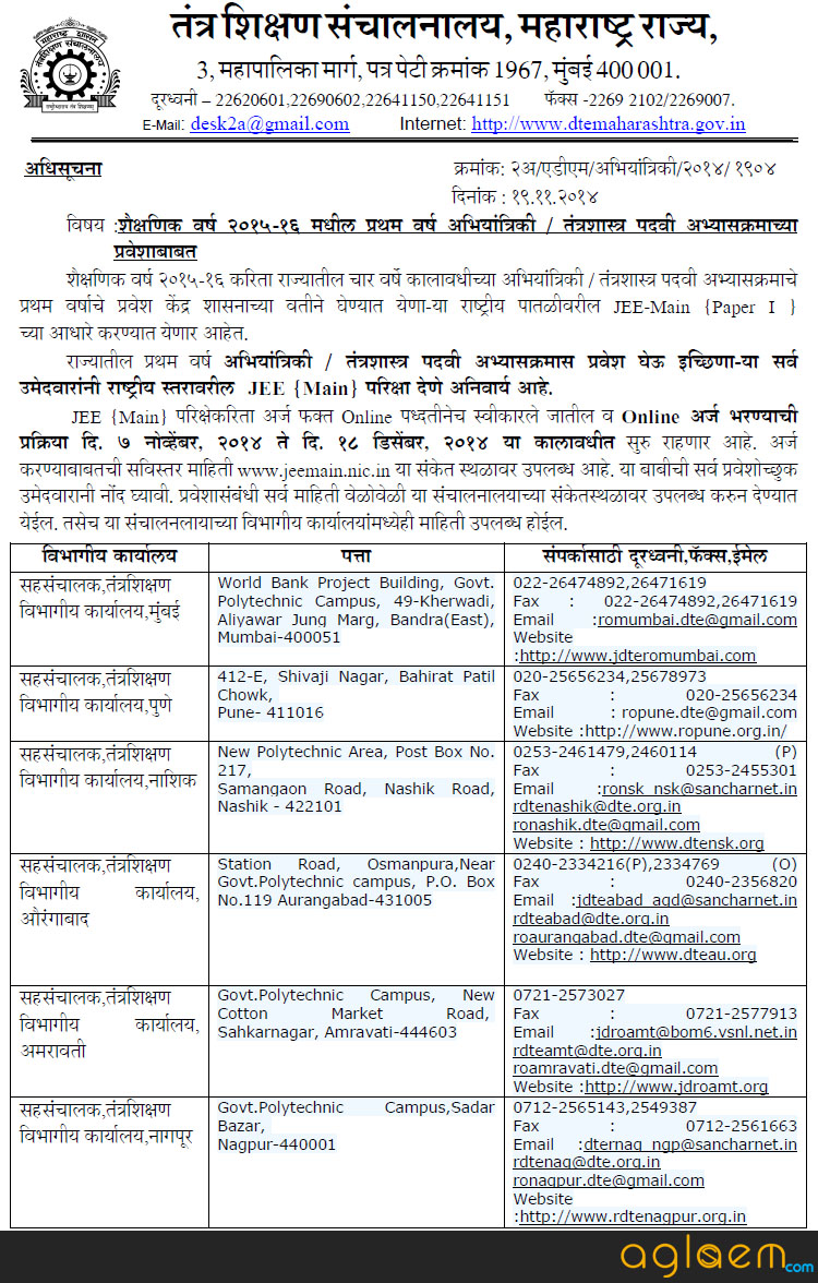 Maharashtra Engineering Admissions 2015