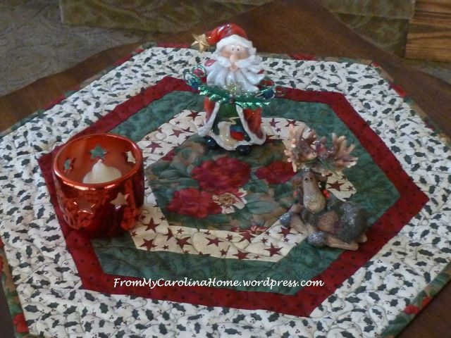 """Christmas Hexagonal Table Topper"" Free Quilted Christmas Table Top Pattern designed by Carole From My carolina Home"