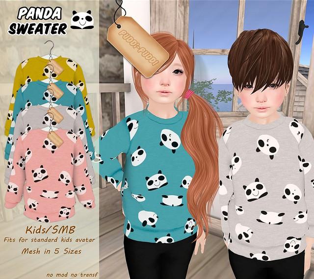 ::Puddi-Puddi:: Kids/SMB Panda Sweater