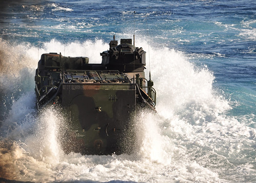 PACIFIC OCEAN – An amphibious assault vehicle assigned to the 3rd Assault Amphibian Battalion launches from the well deck of USS Rushmore (LSD 47) off the coast of San Clemente Island, one of the Channel Islands of California, in support of Exercise Steel Knight 2015.