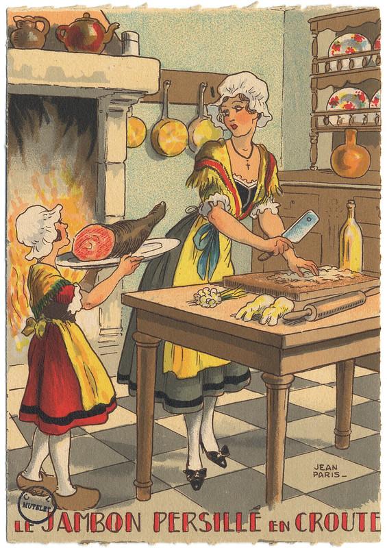 Le jambon persillé en croute - carte postale par Jean Paris 1946 [FIC_GAS_IN 4 391]