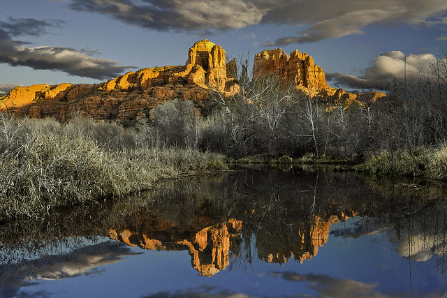 Cathedral Rock and reflecting pond, January 2012