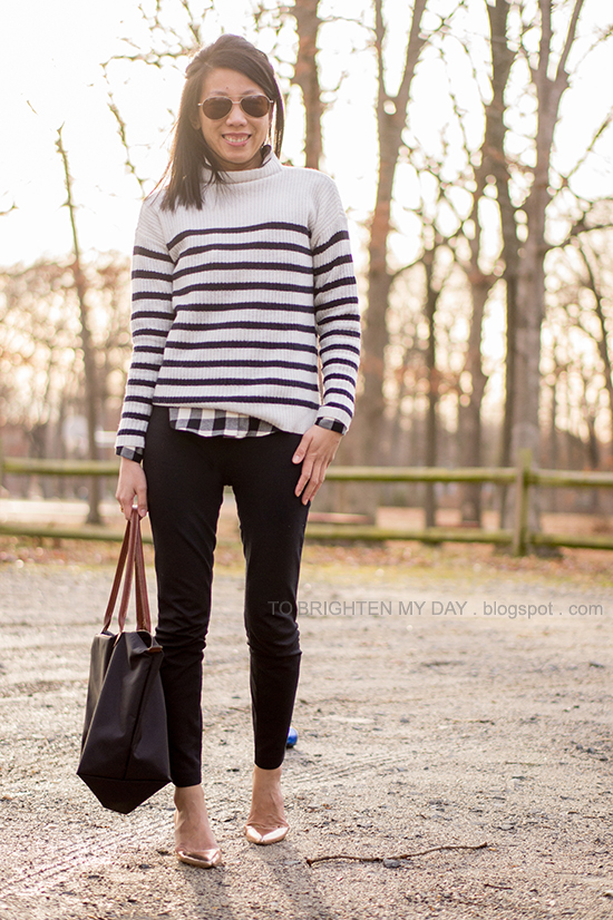 striped sweater, buffalo check shirt, rose gold metallic wedges