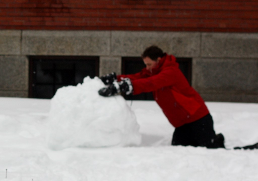 Harvard Snow man building