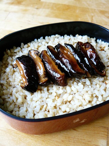Rice and shiitakes