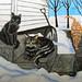 Winter Cats -acrylic painting by landi.luff