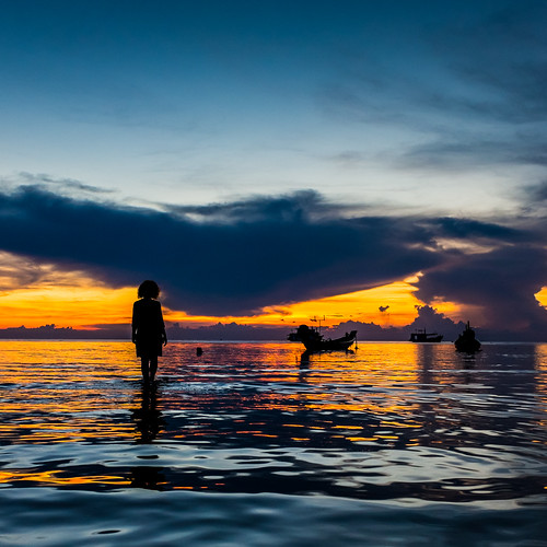 sunset sea sky seascape water square thailand island kohtao x100s